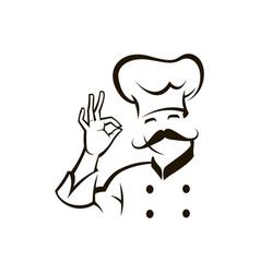 monochrome chef design vector image vector image