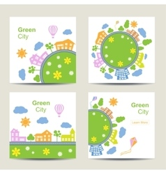 Set of four square card silhouette of green city vector image vector image