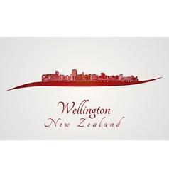 Wellington skyline in red vector image vector image