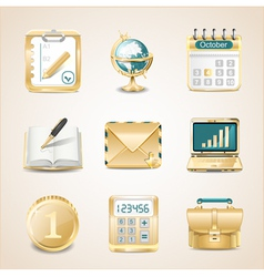 Business icons of gold vector image