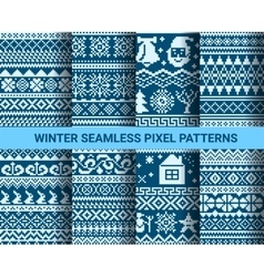 Collection of monochrome seamless pixel patterns vector image vector image
