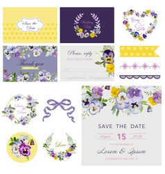 Design elements - wedding flower pansy theme vector