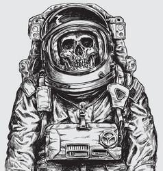 hand drawn astronaut skull vector image vector image