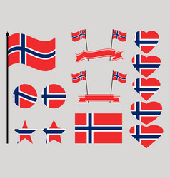 norway flag set collection of symbols heart vector image vector image