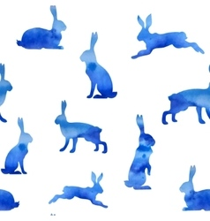 Pattern watercolor hare vector image