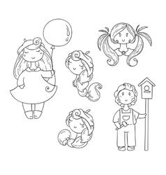 Set of doodle children Boy with birdhouse cute vector image vector image