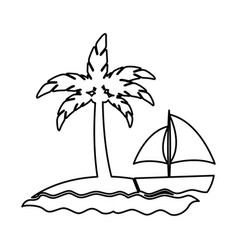 tree palm beach with sailboat vector image vector image