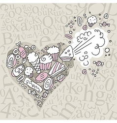 Exploding Sweets Heart vector image