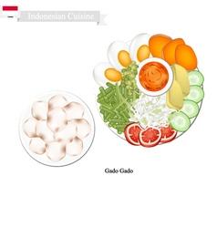 Gado Gado or Indonesian Salad with Peanut Dressing vector image