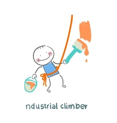 industrial climber paints the wall vector image