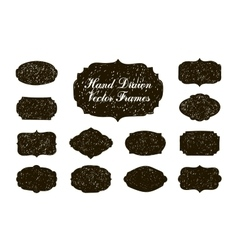 set of hand drawn vintage stickers frames vector image
