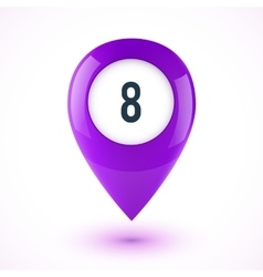 Violet realistic 3D glossy map point symbol vector image vector image