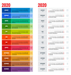 yearly wall calendar planner template for 2020 vector image