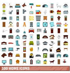 100 home icons set flat style vector