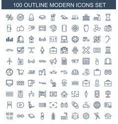100 modern icons vector