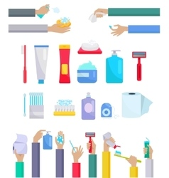 Accessories and Hygiene Items Design Flat vector