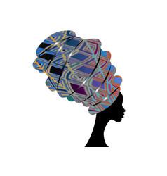 african woman afro shenbolen ankara headwrap vector image
