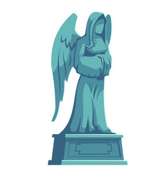 Angel stone figure cemetery tombstone memorial vector