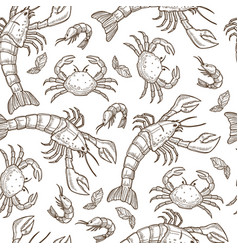 aquatic animals raw seafood shrimps and crabs vector image