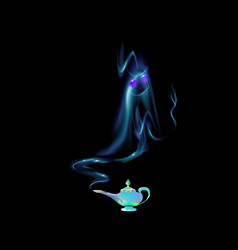 azure turquoise magic lamp and silhouette of an vector image