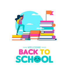 back to school concept of kid learning from books vector image
