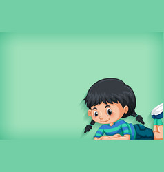 Background template design with happy girl vector
