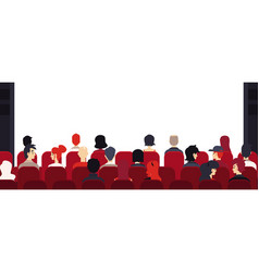 big audience people at chairs empty stage vector image