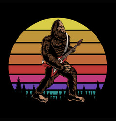 bigfoot play guitar sunset retro vector image