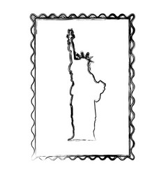 Blurred silhouette frame of statue of liberty vector
