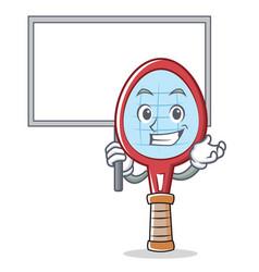 bring board tennis racket character cartoon vector image