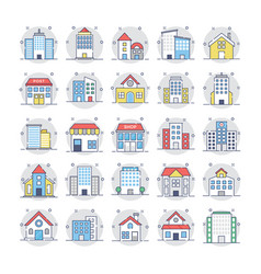 Buildings icons 3 vector