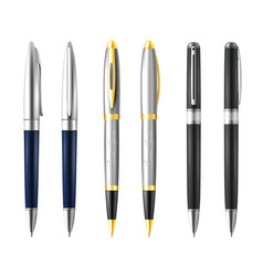 Business pen icon set vector