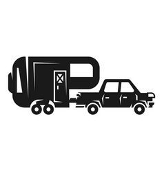 Car with camp trailer icon simple style vector