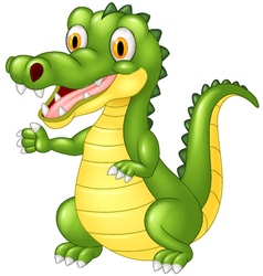Cartoon adorable crocodile posing vector
