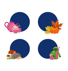 cartoon autumn elements and leaves stickers vector image