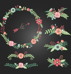 Chalkboard Wedding Floral vector image