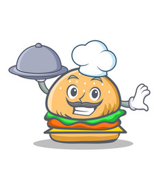 Chef burger character fast food with food vector