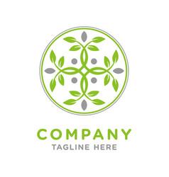 circular leaf logo design vector image