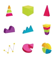 Colorful chart icons set cartoon style vector image