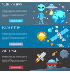 Colorful Space And Astronomy Flat Banners Set vector
