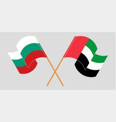 Crossed and waving flags bulgaria vector