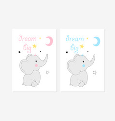 Cute posters with little elephants prints vector
