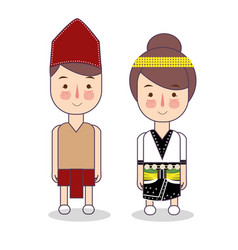 Dayak couple traditional national clothes of vector
