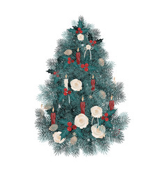 decorated christmas tree with vector image
