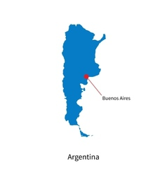 Detailed map of argentina and capital city buenos vector
