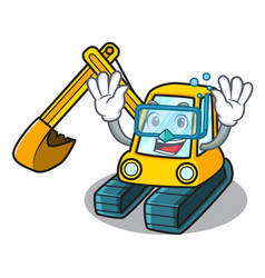 diving excavator character cartoon style vector image