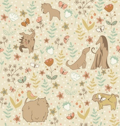 Dogs spring pattern vector