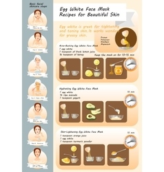 Egg White Face Mask Recipes vector image