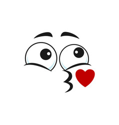 Emoticon blowing kiss isolated kissing emoji face vector