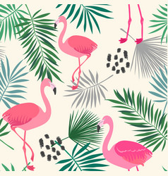 flamingo and leaves vector image